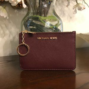 Michael Kors Jet Set Travel Leather Coin Zip Pouch in Merlot
